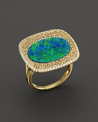 Meira T 14K Yellow Gold Opal Square Ring With Diamonds