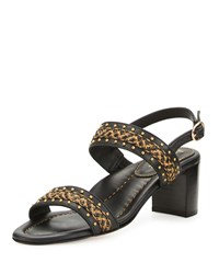 Eric Javits Stubra Straw And Leather Slingback Sandal Antique Black