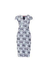 Maiocci Collection Floral V Neck Dress Grey