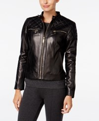 Cole Haan Leather Quilted Trim Moto Jacket Black