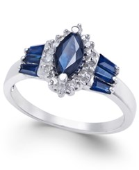 Macy's Sapphire 1 3 8 Ct. T.W. And Diamond 1 6 Ct. T.W. Ring In 14K White Gold Blue
