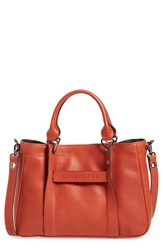 Longchamp 'Small 3D' Leather Tote Orange Brick