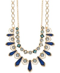 Ivanka Trump Gold Tone Stone And Glitter Two Layer Necklace Blue