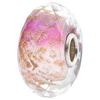 Trollbeads Sterling Silver And Faceted Murano Glass Delight Bead Charm Pink Gold