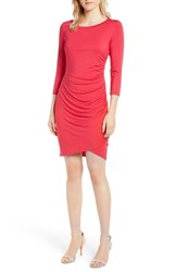 Gibson X Living In Yellow Hannah Ruched Faux Wrap Dress Fuchsia Red