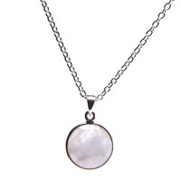 Puck Wanderlust Silver June Birthday Charm Necklace Rainbow Moonstone White Silver