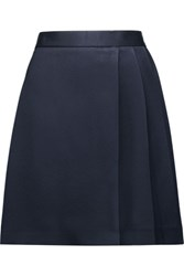 Msgm Pleated Textured Satin Mini Skirt Midnight Blue