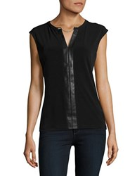 Calvin Klein Faux Leather Accented Top Black