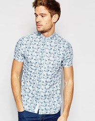 Brave Soul Sea Print Short Sleeve Shirt White