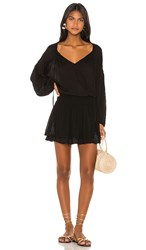 Indah Sashi Solid Blouson Mini Dress In Black.