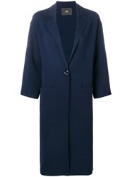 Steffen Schraut Single Breasted Knitted Coat Blue