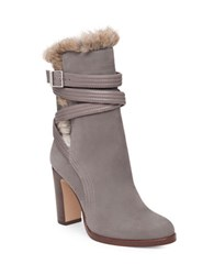 Louise Et Cie Ynez Buckled Rabbit Fur Trimmed Suede Ankle Boots Grey