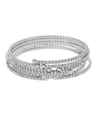 Abs By Allen Schwartz Crystal Accented Bangle Set Silver