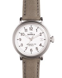 38Mm Runwell Coin Edge Leather Strap Watch Heather Gray Women's Silver Shinola