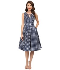 Unique Vintage Checked Cut Out Sateen Swing Dress Navy White Women's Dress Blue
