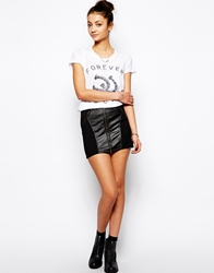 Glamorous Mini Skirt With Perforated Pu Panels Black