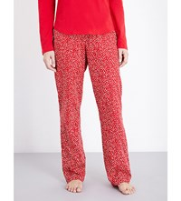 Calvin Klein Patterned Straight Cotton Pyjama Bottoms Og8 Layered Geo Reg Red