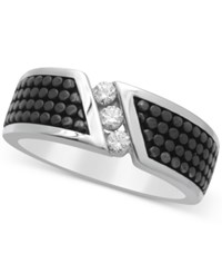 Macy's Men's Diamond Ring 1 4 Ct. T.W. In Sterling Silver And Black Rhodium Plate White