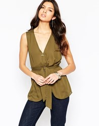 Influence Sleeveless Blouse With Buckle Wrap Detail Green