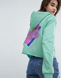 House Of Holland Branded Cropped Hoodie Green