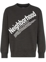 Neighborhood Grey Logo Print Cotton Jumper