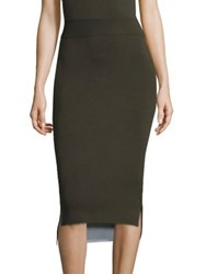 Dkny Reversible Merino Wool Midi Skirt Military