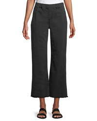 Eileen Fisher Pull On Denim Ankle Jeans W Raw Edges Washed Black
