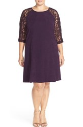 Plus Size Women's Gabby Skye Lace Sleeve Crepe Trapeze Dress