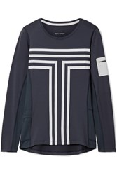 Tory Sport Performance Printed Stretch Jersey Top Midnight Blue