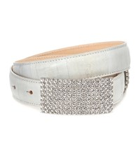 Alessandra Rich Crystal Leather Belt White