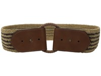 Lauren Ralph Lauren 2 1 2 Wood O Ring On Mixed Media Woven Stretch Brown Natural Tan Women's Belts