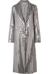 Alice Olivia Angela Sequined Crepe Coat Silver