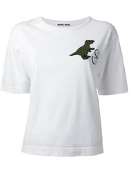 Muveil Dinosaur And Egg Patch T Shirt White