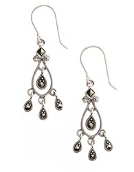 Lord And Taylor Sterling Silver Marcasite Chandelier Earrings