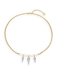 Majorica 6Mm 8Mm Round Pearl Spiked Statement Necklace Gold