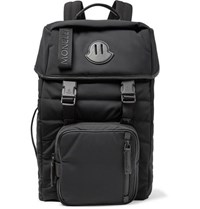 Moncler Logo Webbing And Leather Trimmed Quilted Nylon Backpack Black
