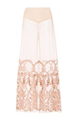 Anna Sui Flower Embroidered Mesh Pants Pink