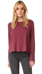 Lna Riser Long Sleeve Crew Neck Tee Burgundy