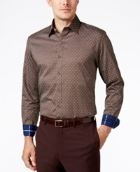 Tasso Elba Men's Jagger Dot Long Sleeve Shirt Classic Fit Brown Combo