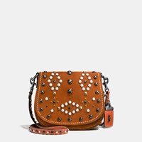 Coach Western Rivets Saddle Bag 17 In Suede Black Copper Ginger