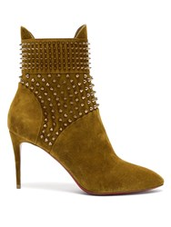 Christian Louboutin Hongroise Studded Suede Boots Khaki
