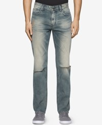Calvin Klein Men's Sim Fit Straight Fatigued Jeans Fatigue Tinted