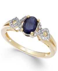 Macy's Sapphire 1 Ct. T.W. And Diamond 1 8 Ct. T.W. Ring In 14K Gold Blue