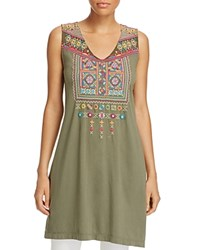 Johnny Was Collection Dita Long Embroidered Tank Army Green