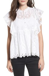 Bp. Ruffle Cotton Eyelet Top