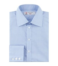 Turnbull And Asser Prince Of Wales Check Formal Shirt Blue