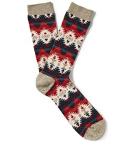 Anonymous Ism Patterned Cotton Blend Socks Cream