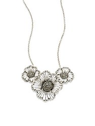 Azaara Vintage Handmade Swarovski Crystal Silverplated Copper And Silver Triple Flower Necklace