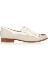 Tory Burch Ruth Canvas Paneled Leather Loafers