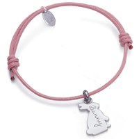 Merci Maman Personalised Sterling Silver Bunny Bracelet Dusty Pink